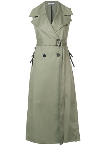 Tome Double Breasted Sleeveless Dress Green mJEvORbR