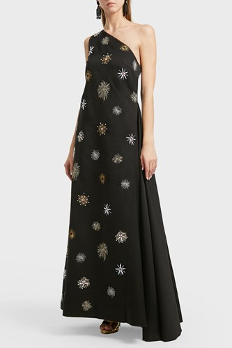 Osman Orion Embroidered Gown Black aQs0T44