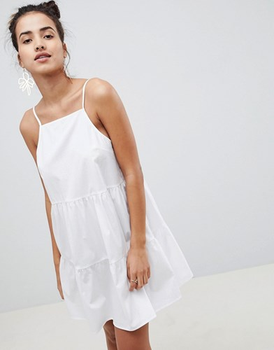 Asos Design Cotton Tiered Mini Sundress White SawKxmFwaf