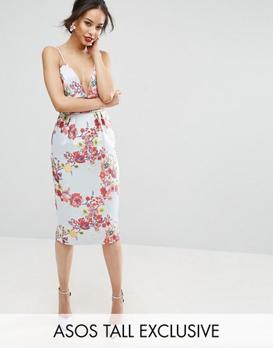 Asos Tall Salon Midi Pencil Dress With Embroidery And Ruched Waist Detail Multi FoNEeuK