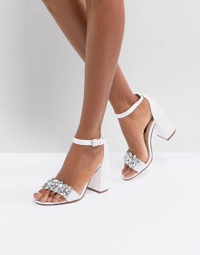 London Rebel Bridal Barely There Satin Block Heel Sandal White Clear Stones xeWOb