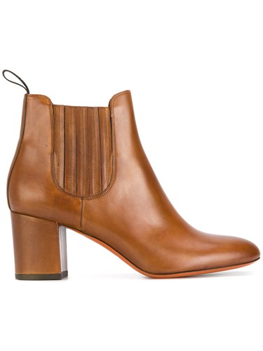 Santoni Classic Heeled Boots Leather Rubber Brown M67esqwr