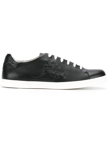 Emporio Armani Lace Up Sneakers Calf Leather Leather Rubber Black IOO9k