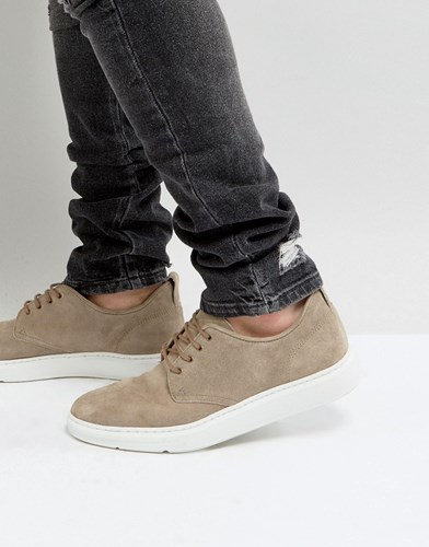 Asos Lace Up Derby Shoes In Gray Suede With Hybrid Sole Gray ypsxBYFgwk
