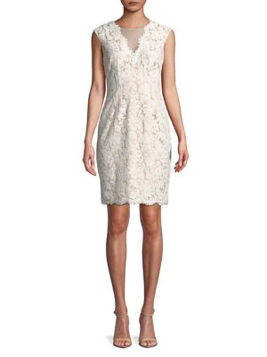 Vince Camuto Sleeveless Lace Dress Ivory pVoxXX