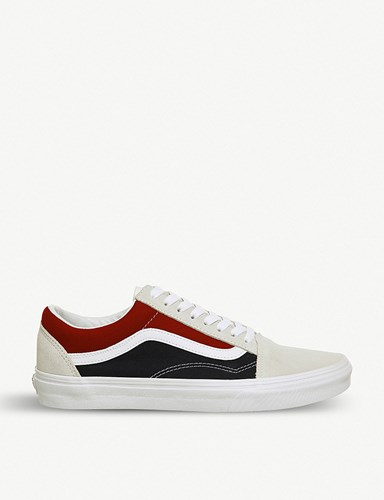 Vans Old Skool Suede And Canvas Trainers White Red Dress Blue 9KYYOKE