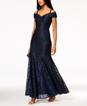 R & M Richards Off The Shoulder Lace Gown Navy hdydW