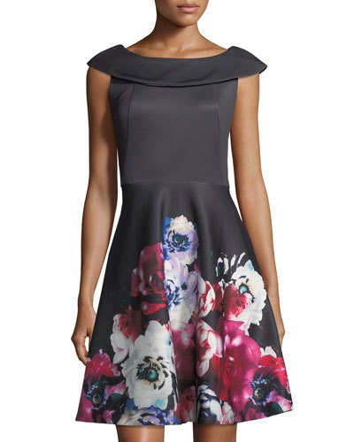 Neiman Marcus Floral Print Fit And Flare Dress Multi H7dJx