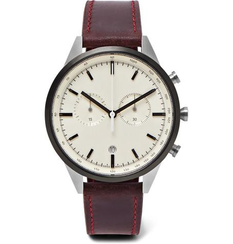 C41 Chronograph Pvd Coated Stainless Steel And Leather Watch Burgundy