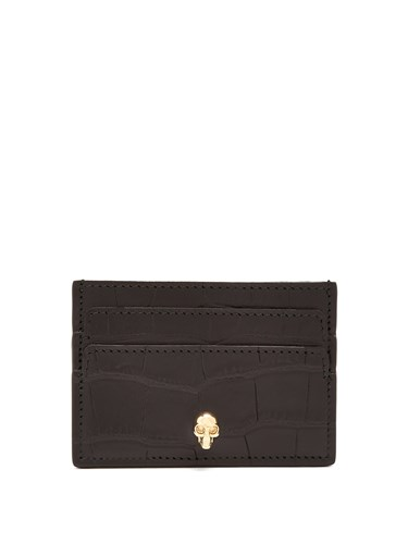 Alexander McQueen Skull Plaque Crocodile Effect Leather Cardholder Black UL8nIuedQw