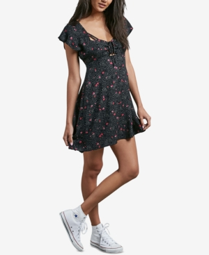 Volcom Juniors' It's A Cinch Printed Empire Waist Dress Black kCKYjM3