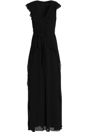 Badgley Mischka Bow Detailed Ruffled Crepe Gown Black zsO43D