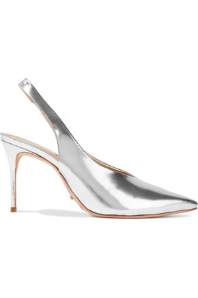 Schutz Phisalis Mirrored Leather Slingback Pumps Silver f4LKCgXO