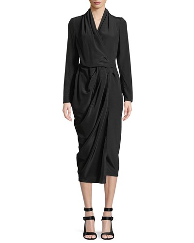 Rick Owens Long Sleeve Silk Crepe Wrap Midi Dress Black CIK4gOMWUG
