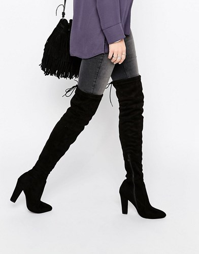 Public Desire Olivia Tie Back Heeled Thigh High Boots Black Suede ZaVy9Gz