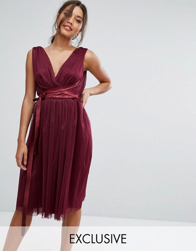 True Violet Midi Tulle Dress With Satin Band Purple GqORrbtI8