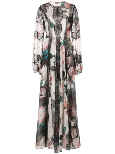 Sachin + Babi And Empress Floral Print Gown Polyester Black qsGNqc6aW