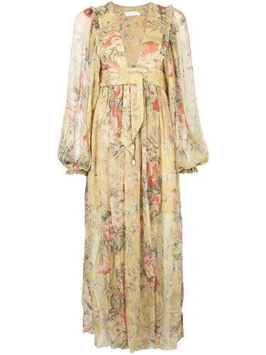 Zimmermann Floral Maxi Dress Yellow And Orange bWTnhER