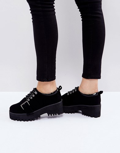 Asos Out Of Bound Hiker Heeled Shoes Black w2xfGp