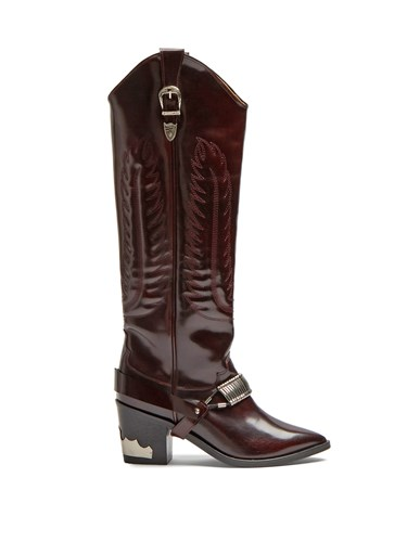 Buckle-strap knee-high leather boots Toga Archives AgzVZBVK