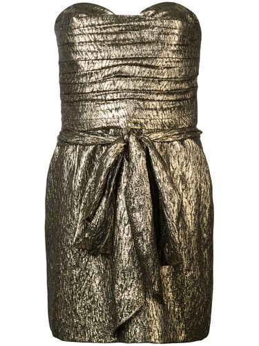 Saint Laurent Ruched Jacquard Bandeau Dress Metallic LLebMG9
