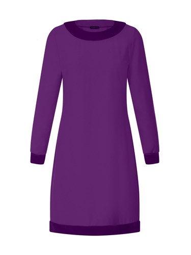 HotSquash Swing Dress With Velvet In Clever Fabric Purple c8kD6K
