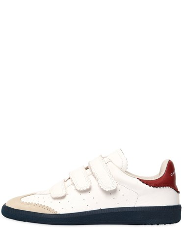 Isabel Marant 20Mm Beth Leather Sneakers White Red esOW4b
