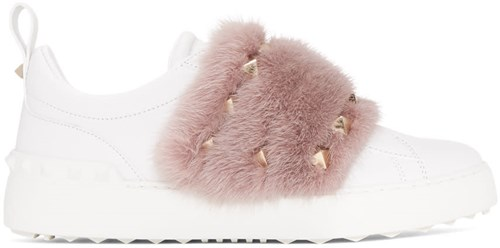 Valentino White And Pink Garavani Mink Open Sneakers rpgXER