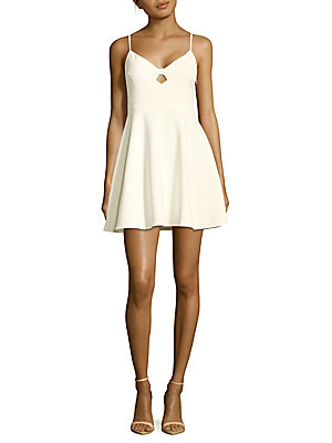 Likely V Neck Fit And Flare Dress White IFArCHy