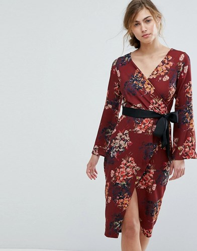 With Brown Belt Allover Dress Floral Closet Wrap London Pencil Multi qw8nWAfYW