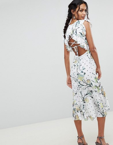 Hope and Ivy Floral Printed Open Back Ruffle Detail Midi Dress Multi SPmr7Q6NIT