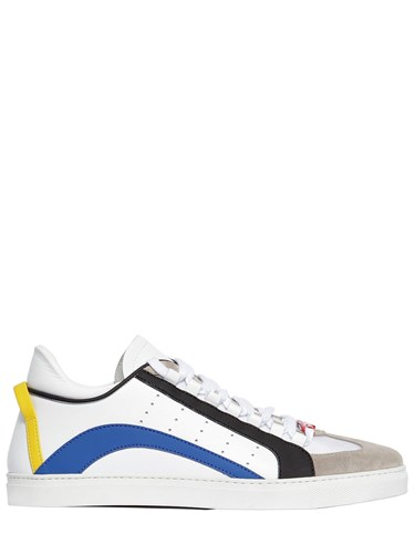 DSquared New 551 Leather Rubber Suede Sneakers White Blue lVC83n