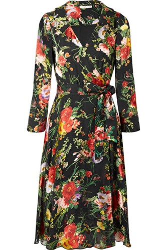Alice + Olivia Abney Floral Print Burnout Chiffon Wrap Dress Black L9H1K506