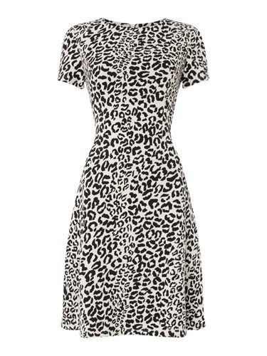 Oui Leopard Print Short Sleeve Dress Multi Coloured Multi Coloured PuW3QeNCbH
