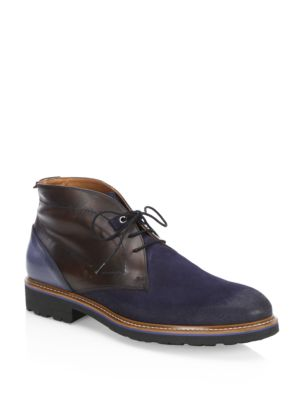 Saks Fifth Avenue Collection Mixed Media Leather Chukka Boots Navy Brown bkK3h5r5
