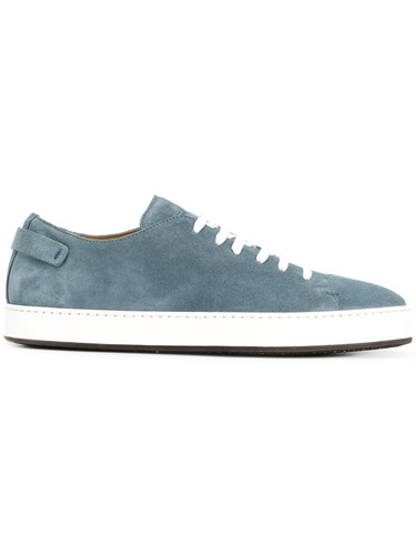 Santoni Contrast Sole Sneakers Leather Rubber 7.5 Blue mY5Epe