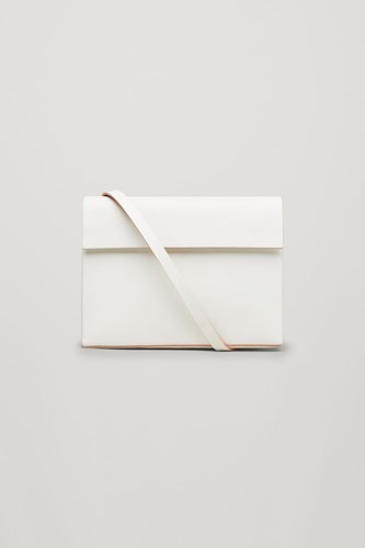 COS Structured Leather Shoulder Bag White jPXAjbwvF