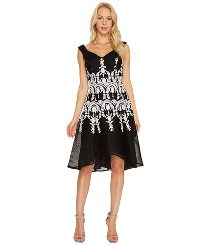 Adrianna Papell Embroidered Neoprene Fit And Flare Dress Black Ivory Women's Dress UL1UbiqoWA