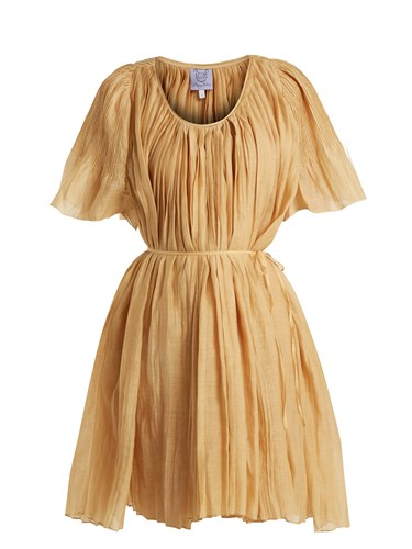 Blend Dress Pleated And Gold Sparta Cotton Colson Thierry Silk 6YOzqYR