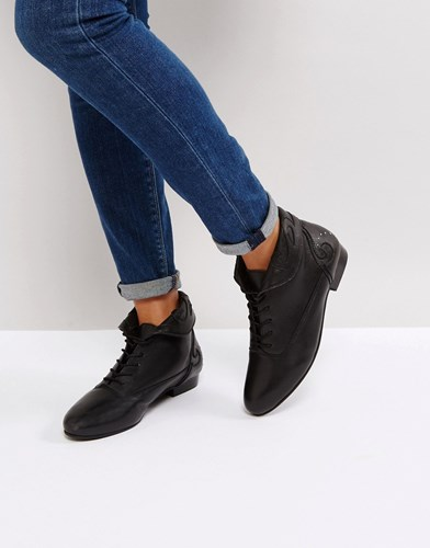Up Lace Asos Black Boots Autumn Leather 6qwHxvt