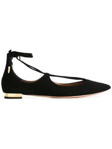 Aquazzura 'Christy' Ballerinas Suede Leather Metal Black oCx0IAnp6B