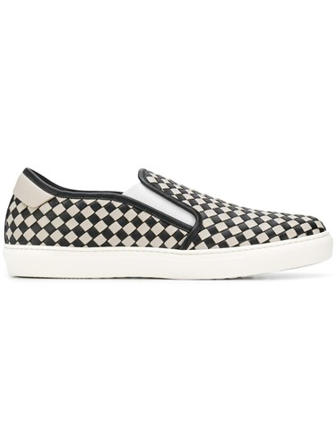 Nero Cement Calf Bv Checker Slip On White