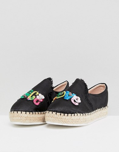 Lost Ink Peace And Love Black Flatform Espadrilles IpXhXk