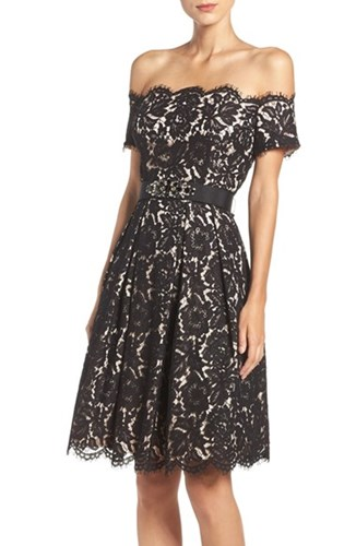 Eliza J Women's Embellished Lace Fit And Flare Dress pmplm4oi