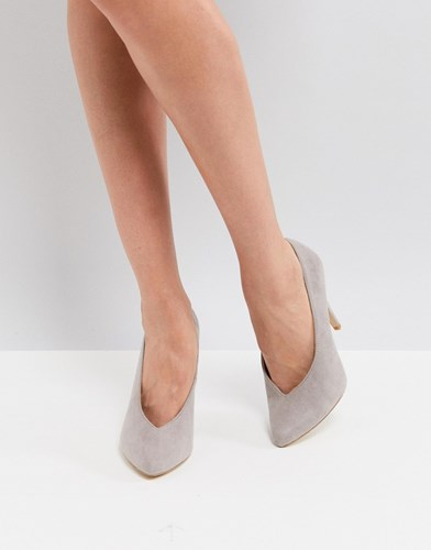 New Look High Vamp Pointed Court Shoe Grey 6GfXC2P