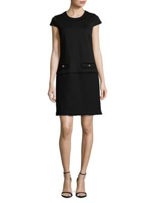 Karl Lagerfeld Frayed Tweed Shift Dress Black DfunFuVQlL