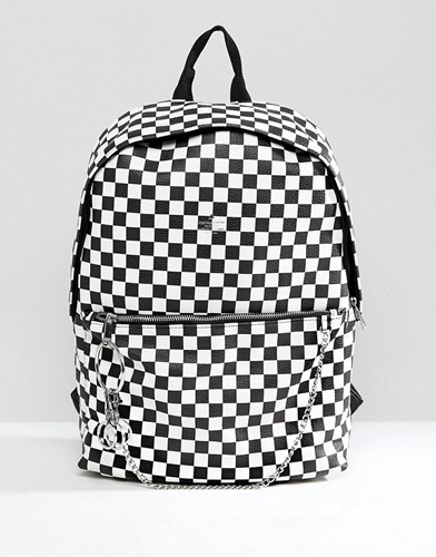 Asos Faux Leather Backpack In Checkerboard Print Black IvX1J