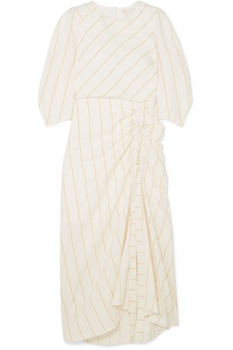 Maje Ruched Striped Gauze Midi Dress Ecru Gbp 6uB5BXqj8