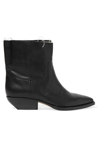 Saint Laurent Theo Frayed Textured Leather Ankle Boots Black Fb5MYhcufu