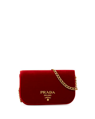 Prada Small Velvet Flap Crossbody Bag Red Xda0Kv